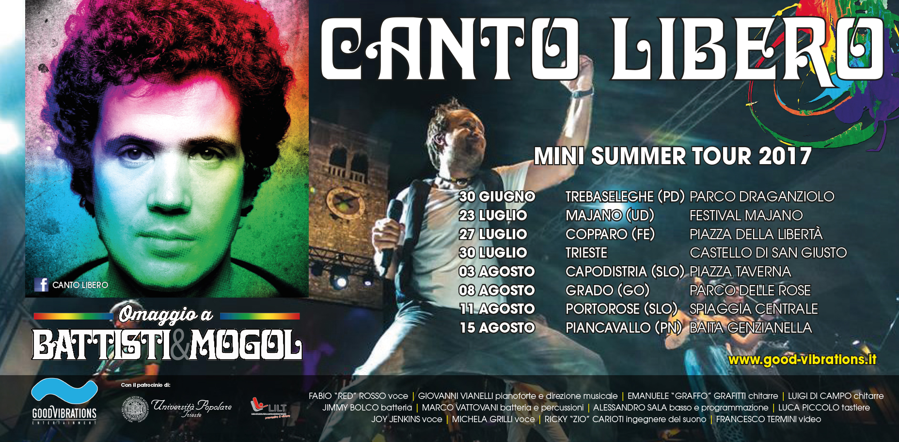 """Annunciato il Summer tour 2017 di """"Canto Libero"""""""