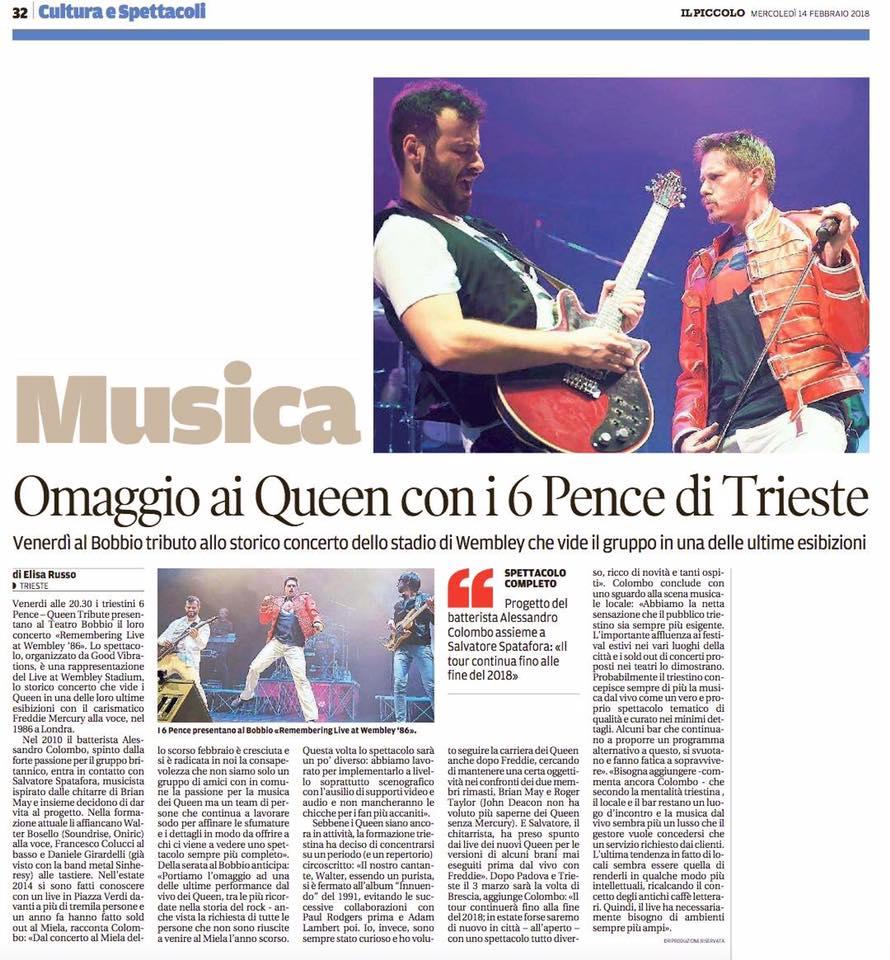 """[RASSEGNA STAMPA] I """"6 Pence – Queen Tribute"""" su """"Il Piccolo"""""""
