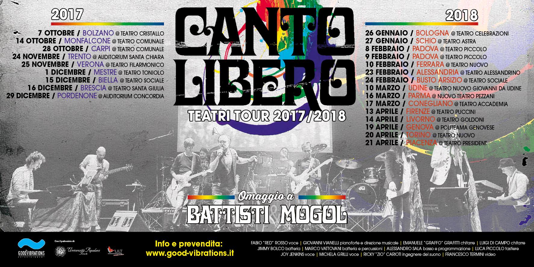 """Annunciato il """"Teatri tour 2017/2018"""" di Canto Libero"""