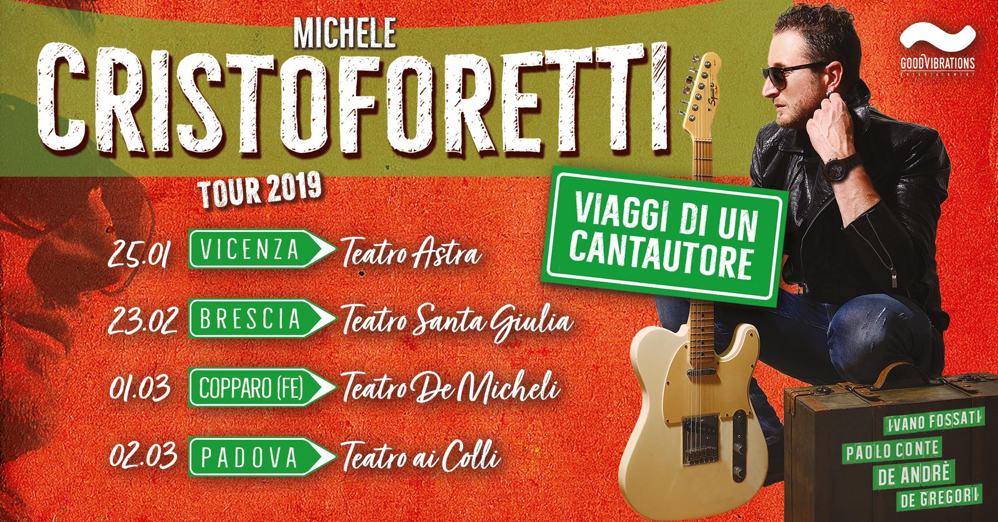 """Annuncio date spettacolo """"Viaggi di un cantautore"""" di Michele Cristoforetti"""