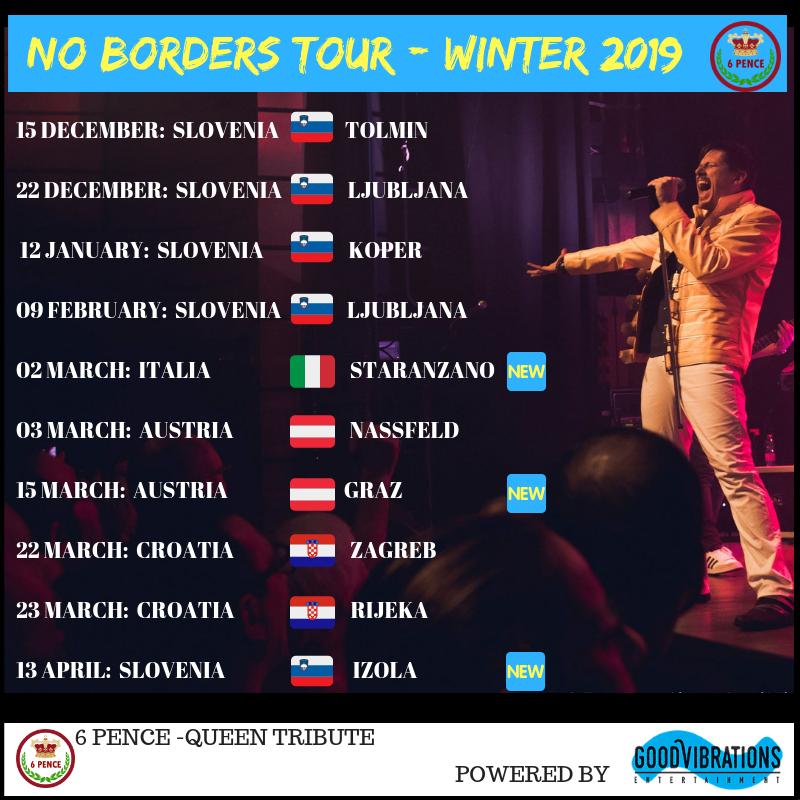 "Annuncio ""No Borders – Winter Tour 2018/2019"" di 6 Pence – Queen Tribute"