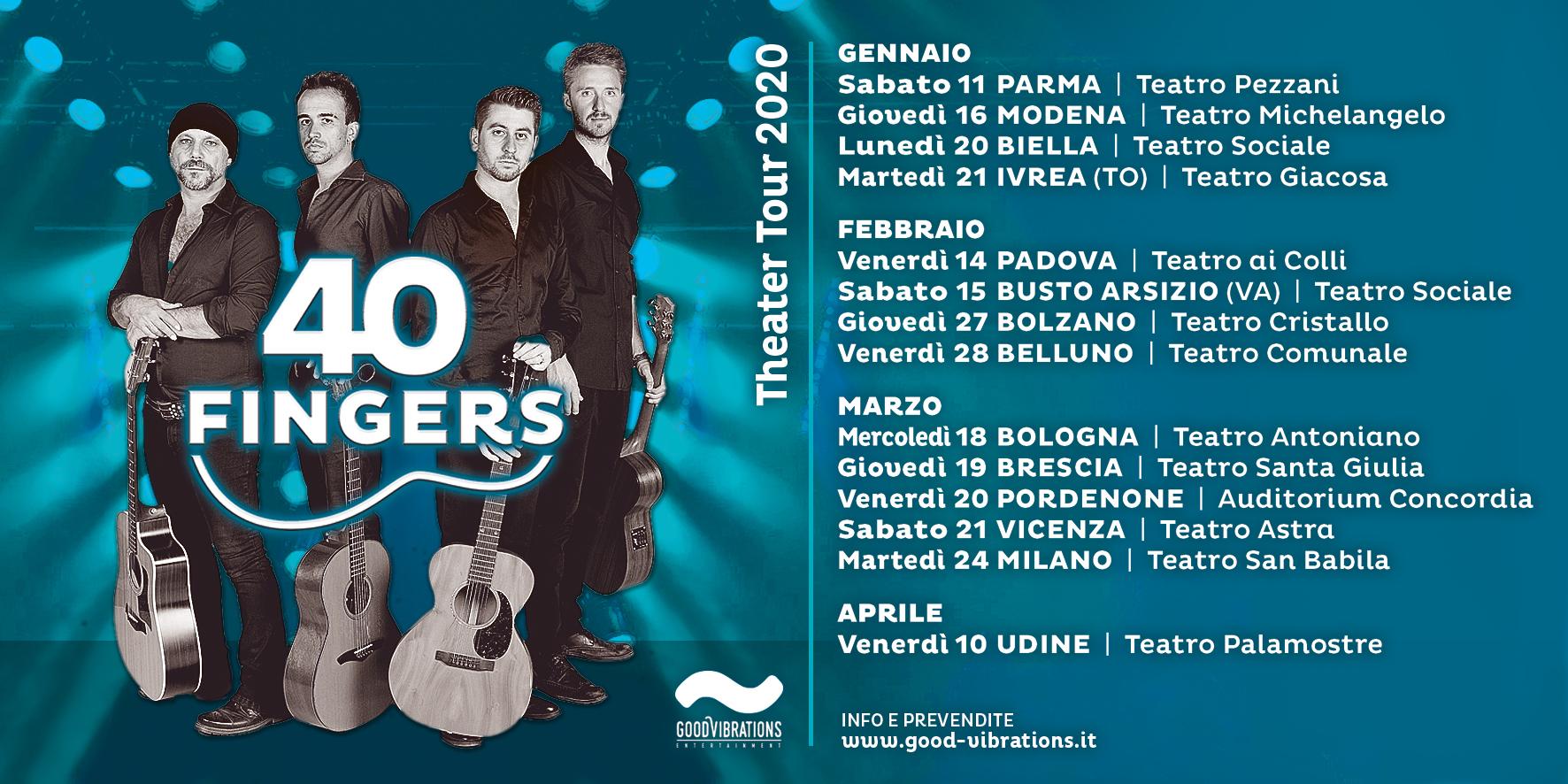 """Annuncio date 40 Fingers – guitar quartet """"Teatri Tour 2020"""""""