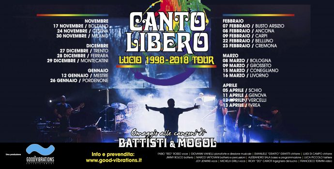 """Annuncio date Canto Libero """"Lucio 1998-2018 Tour"""""""