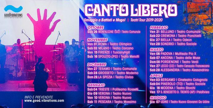 """Annuncio date Canto Libero """"Teatri Tour 2019/2020"""""""